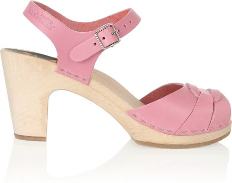Swedish Hasbeens Super High Leather Clog Sandals In Pink