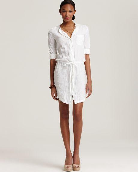 James perse short sleeve linen shirt dress with drawstring for White linen dress shirt