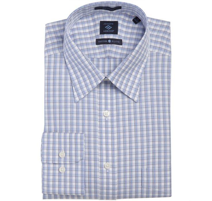 Joseph abboud blue plaid cotton point collar dress shirt for Joseph abboud dress shirt