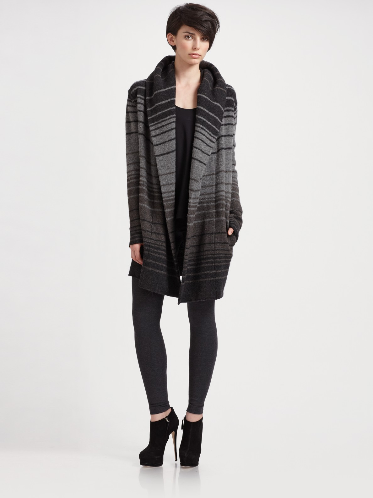 Vince Sophie Striped Sweater Coat in Black | Lyst