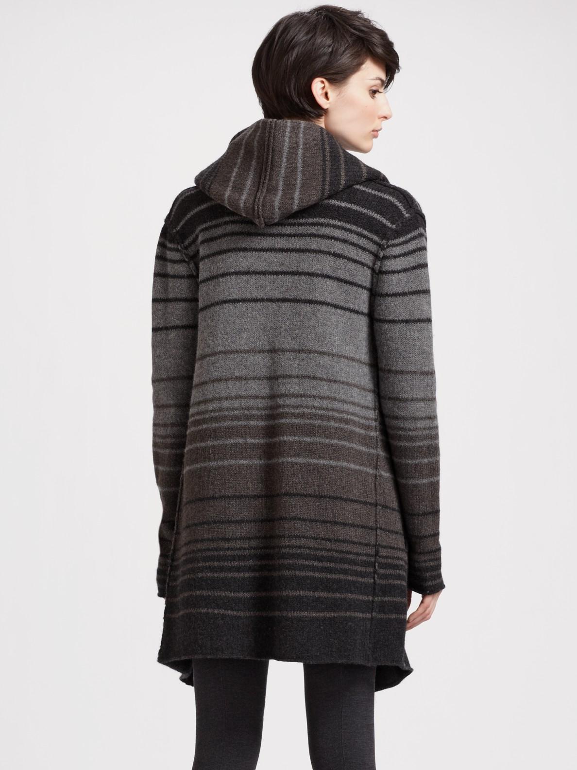 Vince Sophie Striped Sweater Coat In Black Lyst