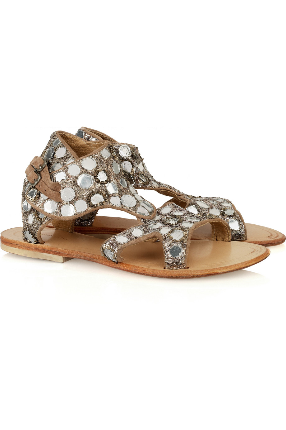 Antik Batik Lucinda Mirrored Sandals in Silver (white)