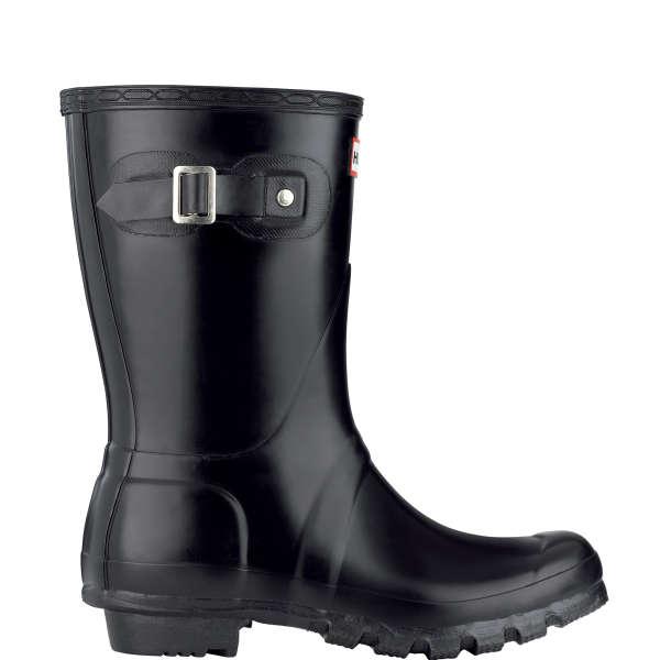 Hunter Mens Original Short Wellington Boots Black In Black