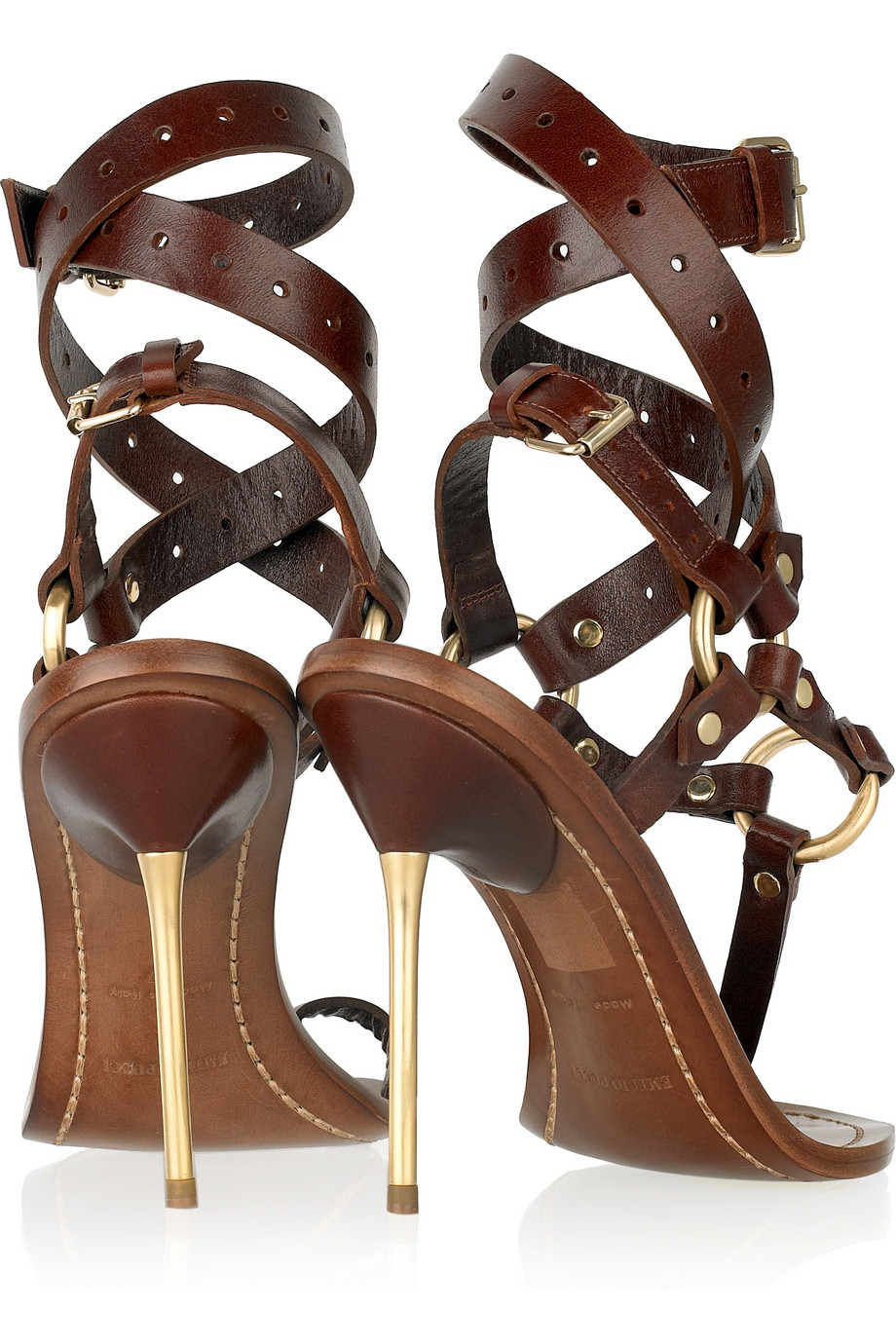 Lyst Emilio Pucci Leather T Bar Sandals In Brown