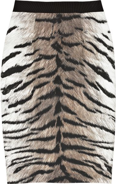 Giambattista Valli Cotton and Silk-blend Tiger-print Pencil Skirt in Animal (tiger)