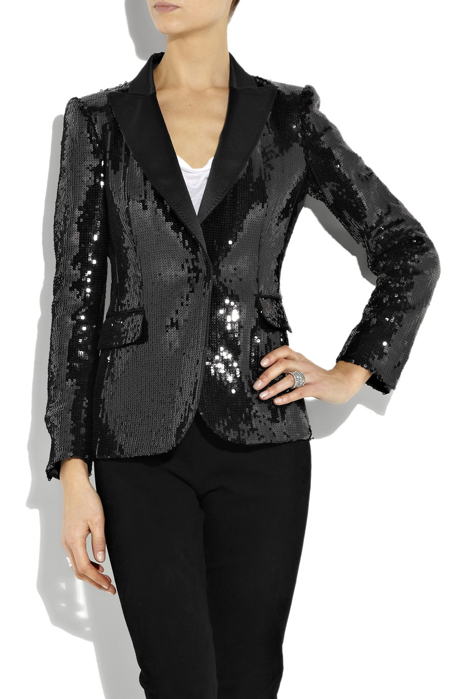 Lyst - Boutique Moschino Sequined Satin Tuxedo Jacket in Black