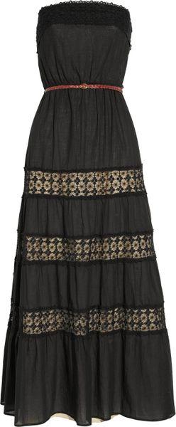 Sandro Rafaella Lace Trimmed Cotton Maxi Dress In Black Lyst