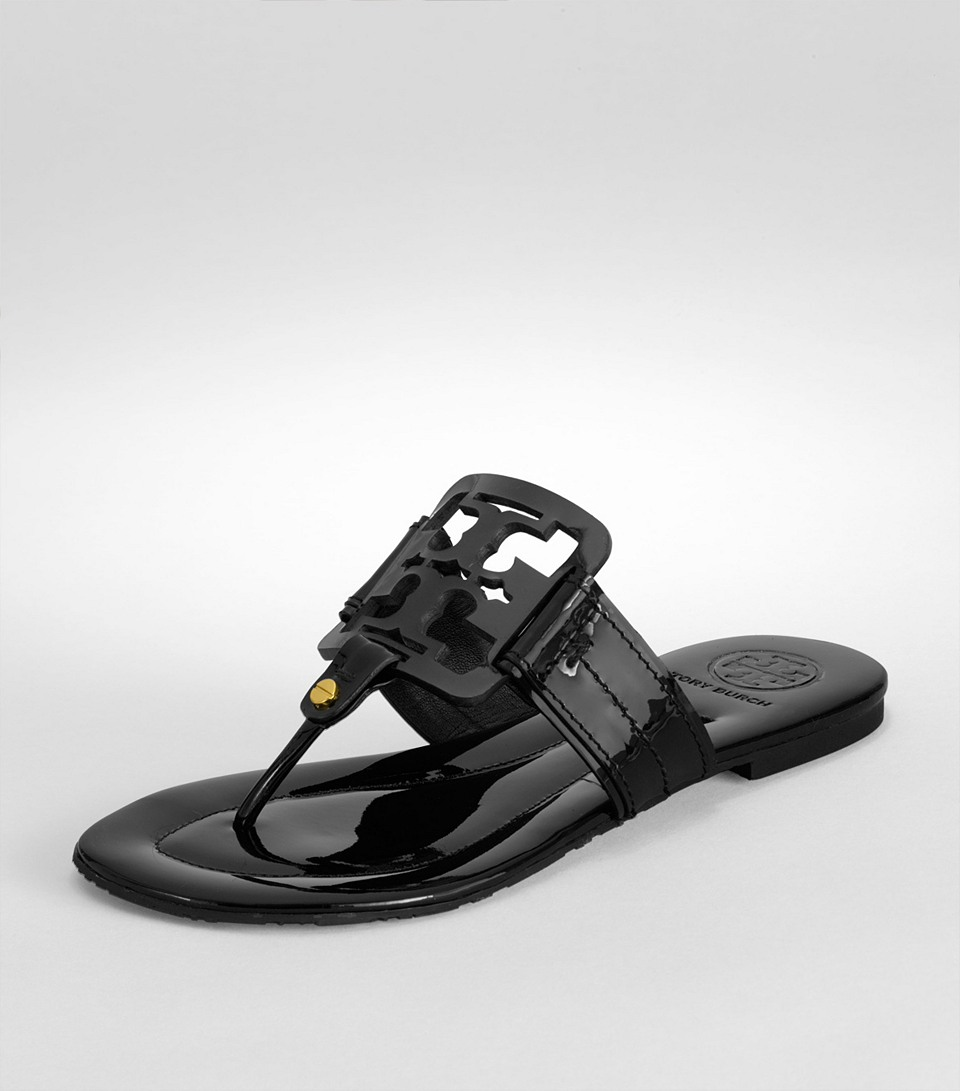a64cf38c89eed2 Lyst - Tory Burch Square Miller Patent Leather Thong Sandals in Black