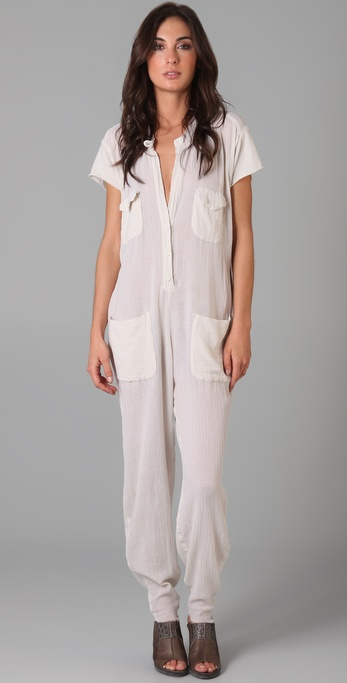 Raquel allegra Short Sleeve Jumpsuit in White | Lyst