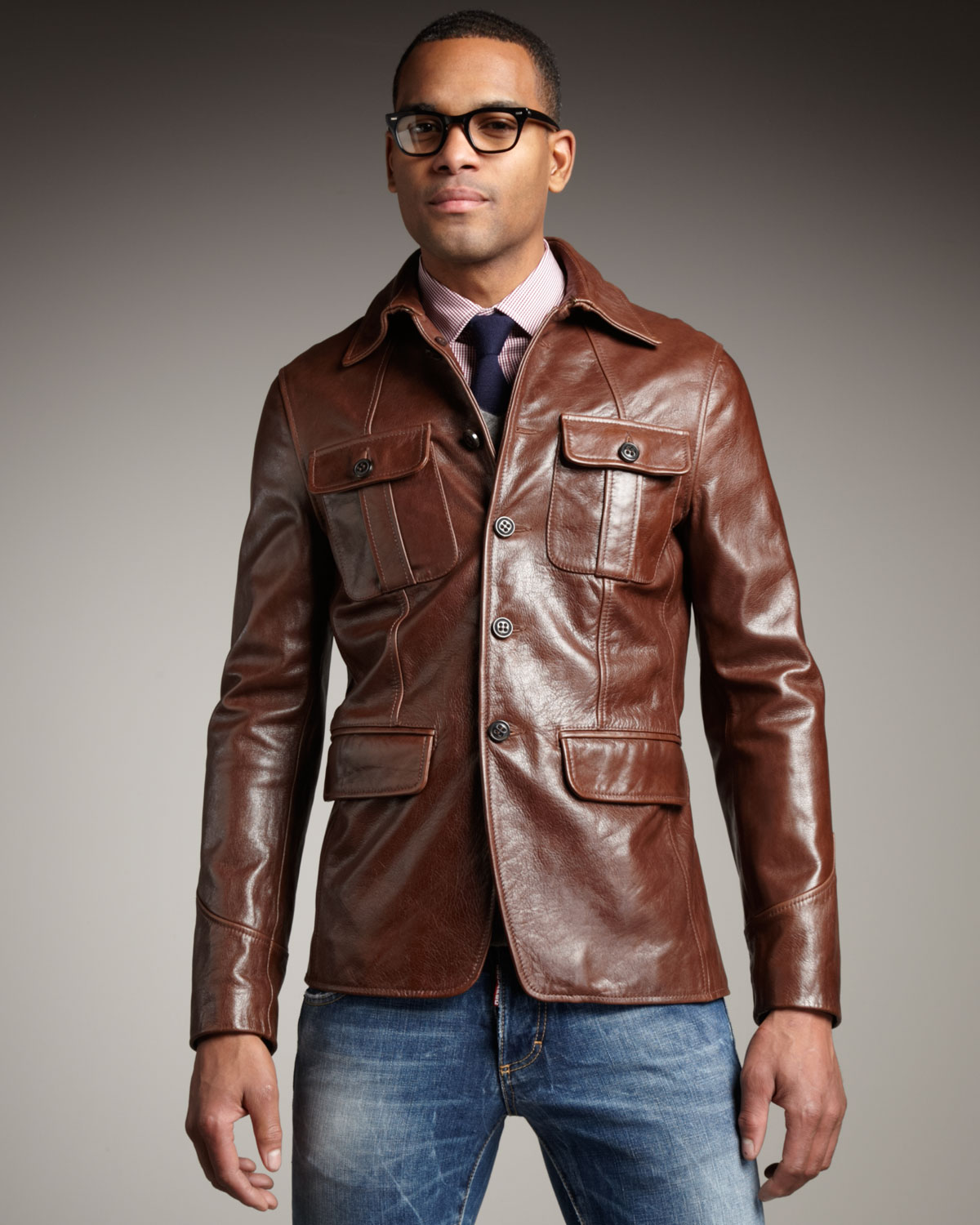 Lyst - Dsquared² Leather Military Jacket in Brown for Men
