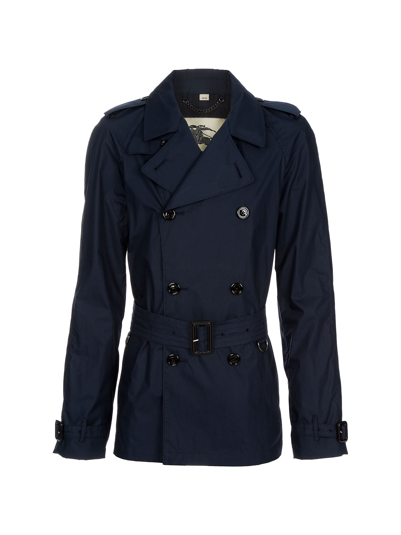 Burberry Short Trench Coat in Blue for Men | Lyst