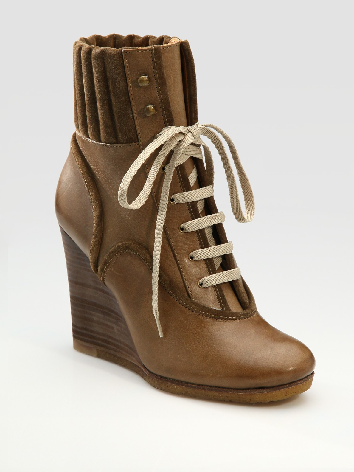chlo 233 lace up wedge ankle boots in brown taupe lyst