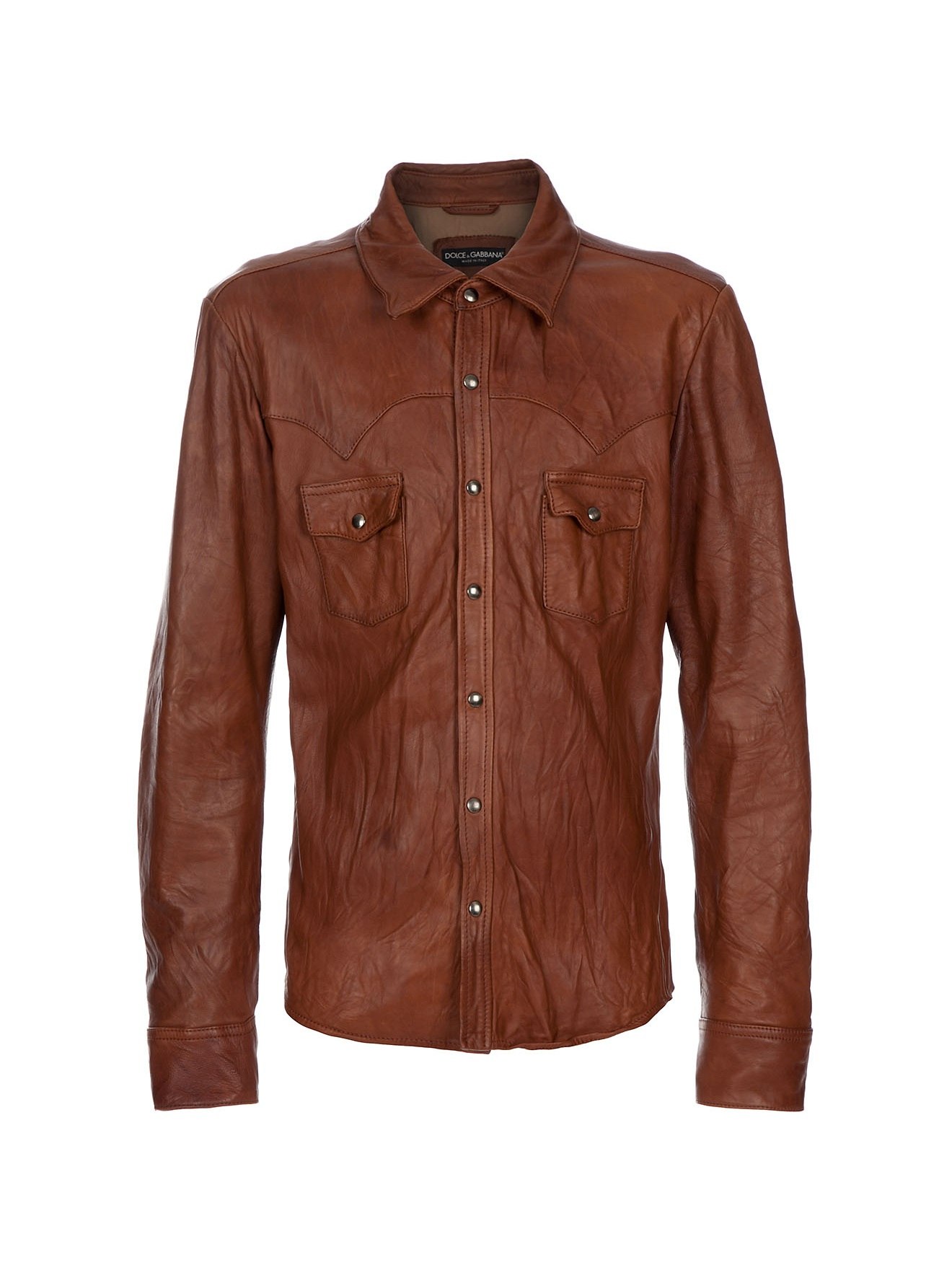 Dolce Amp Gabbana Leather Shirt In Brown For Men Lyst