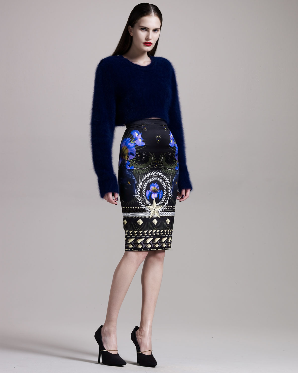 Givenchy Panther-print Pencil Skirt in Black   Lyst
