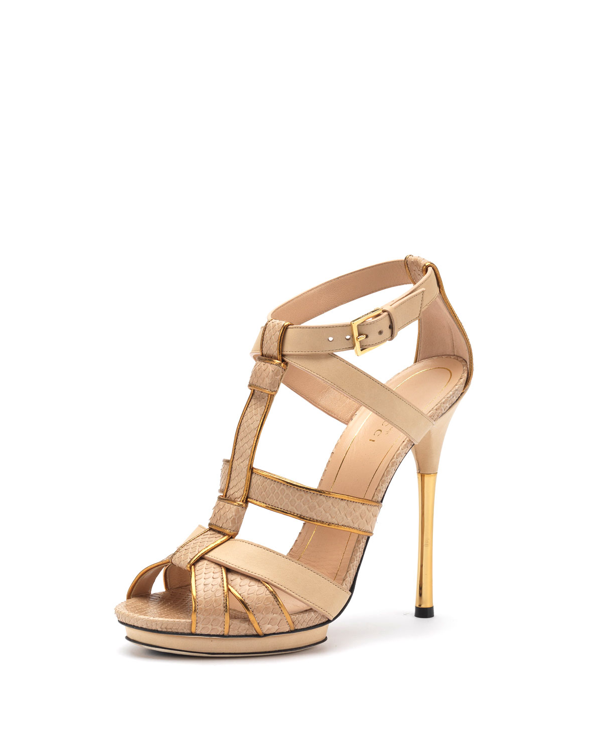 gucci malika high heel sandal in beige nude lyst. Black Bedroom Furniture Sets. Home Design Ideas