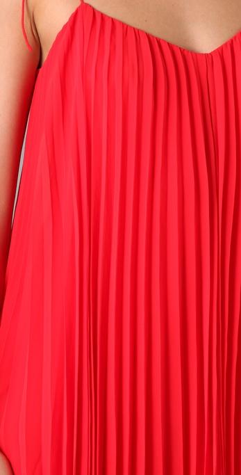 Halston Pleated Chiffon Dress in Red - Lyst