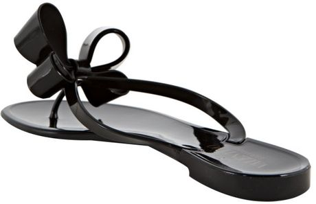 Valentino Black Rubber Double Bow Thong Sandals In Black