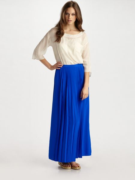 tibi silk maxi skirt in blue taupe lyst