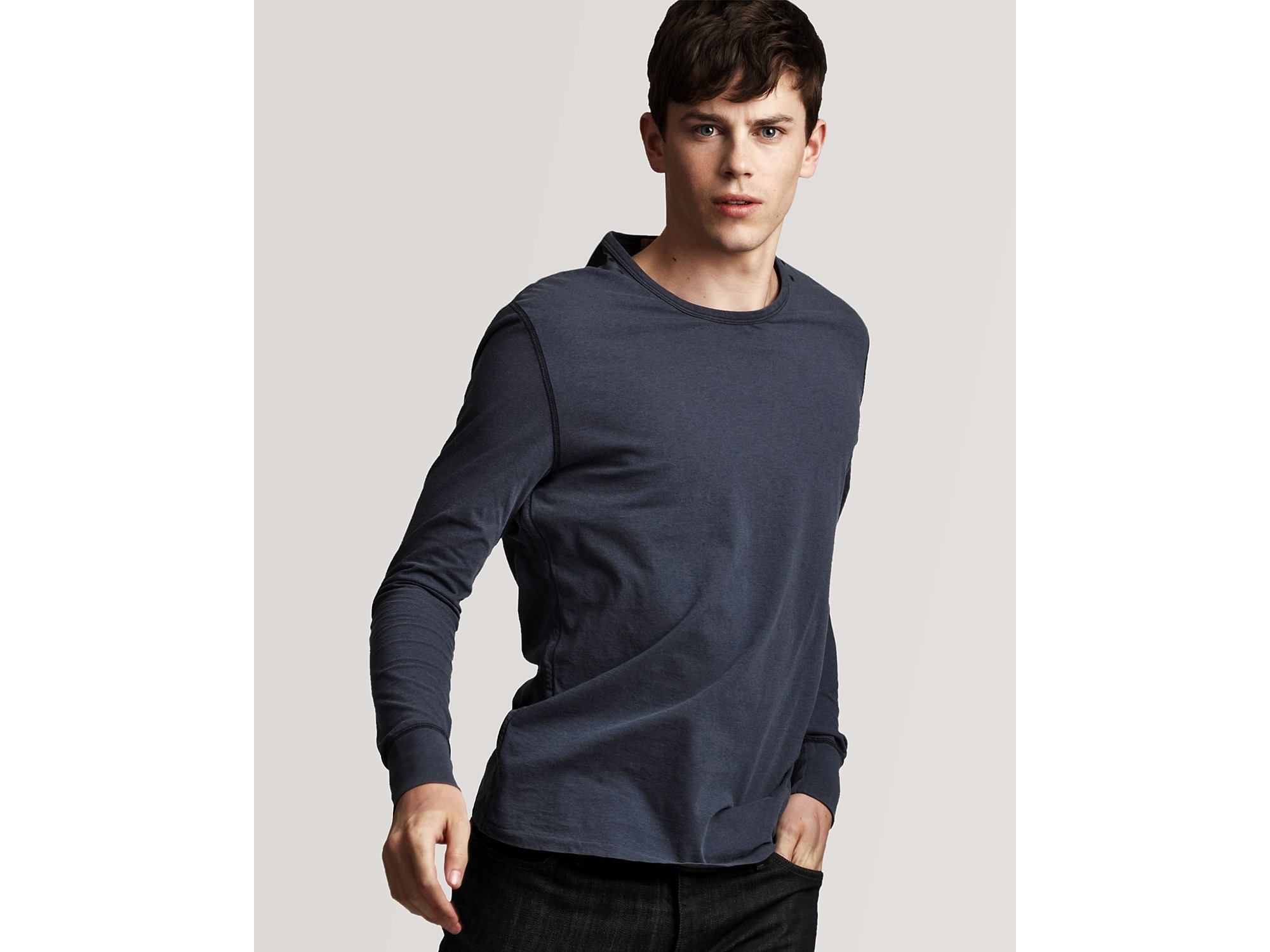 Burberry Long Sleeve T Shirt With Check Elbow Patches In