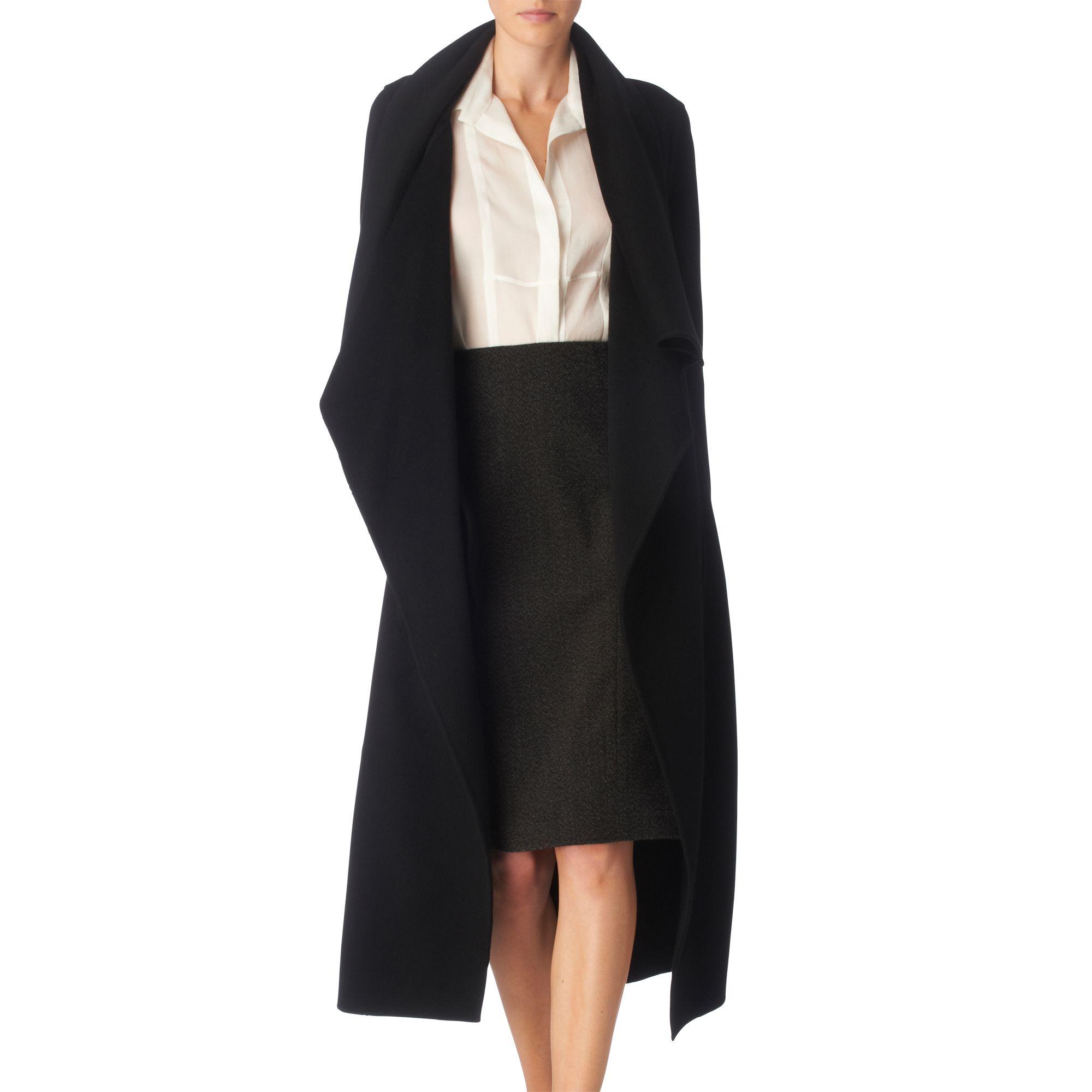 Donna karan Draped Cashmere Coat in Black | Lyst