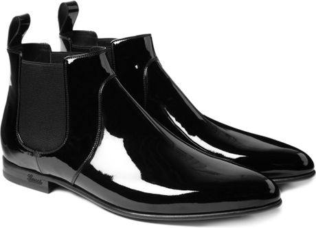gucci patent leather chelsea boots in black for lyst