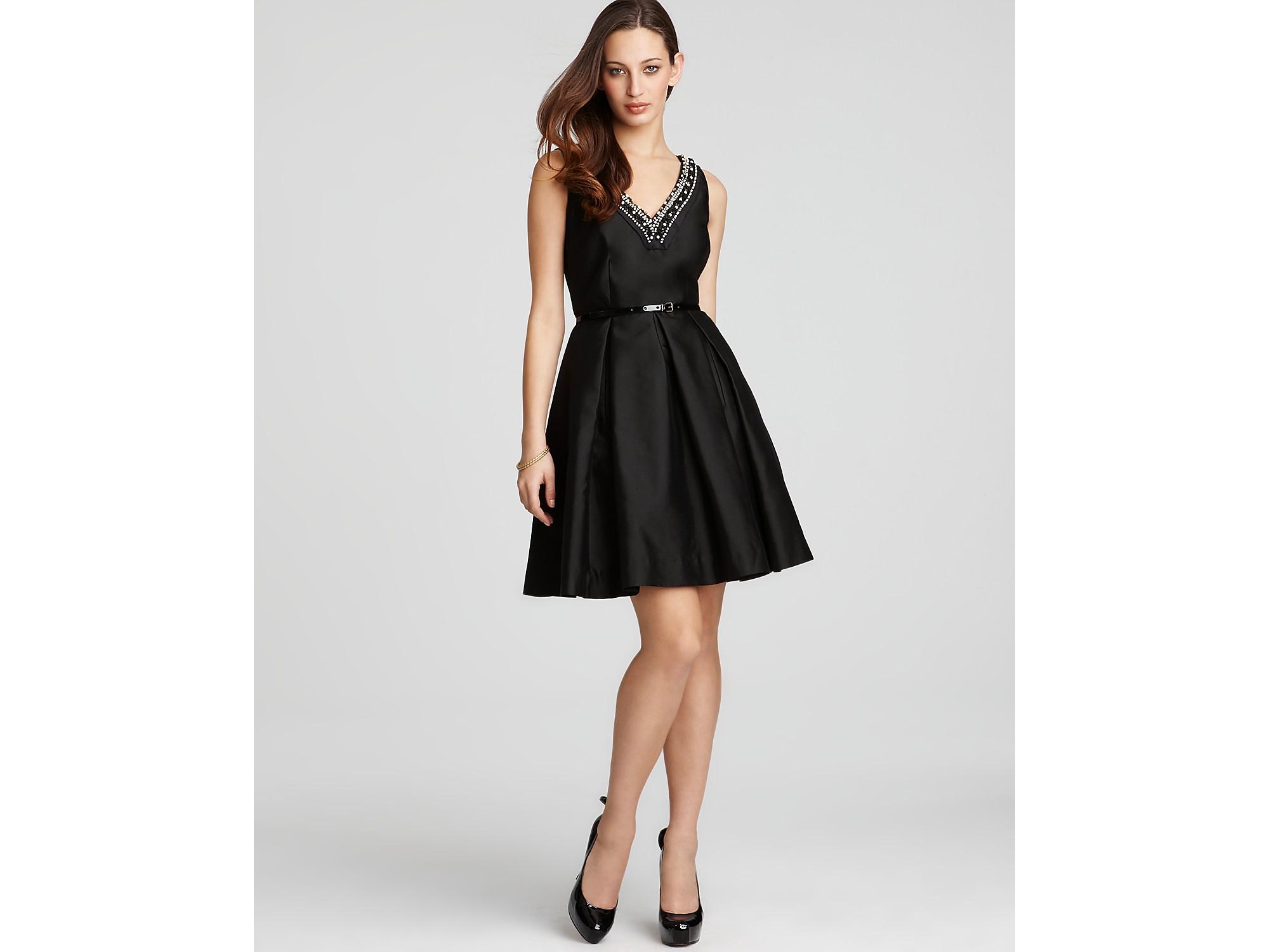 Kate Spade Dabney Embellished Silk Cotton Dress In Black