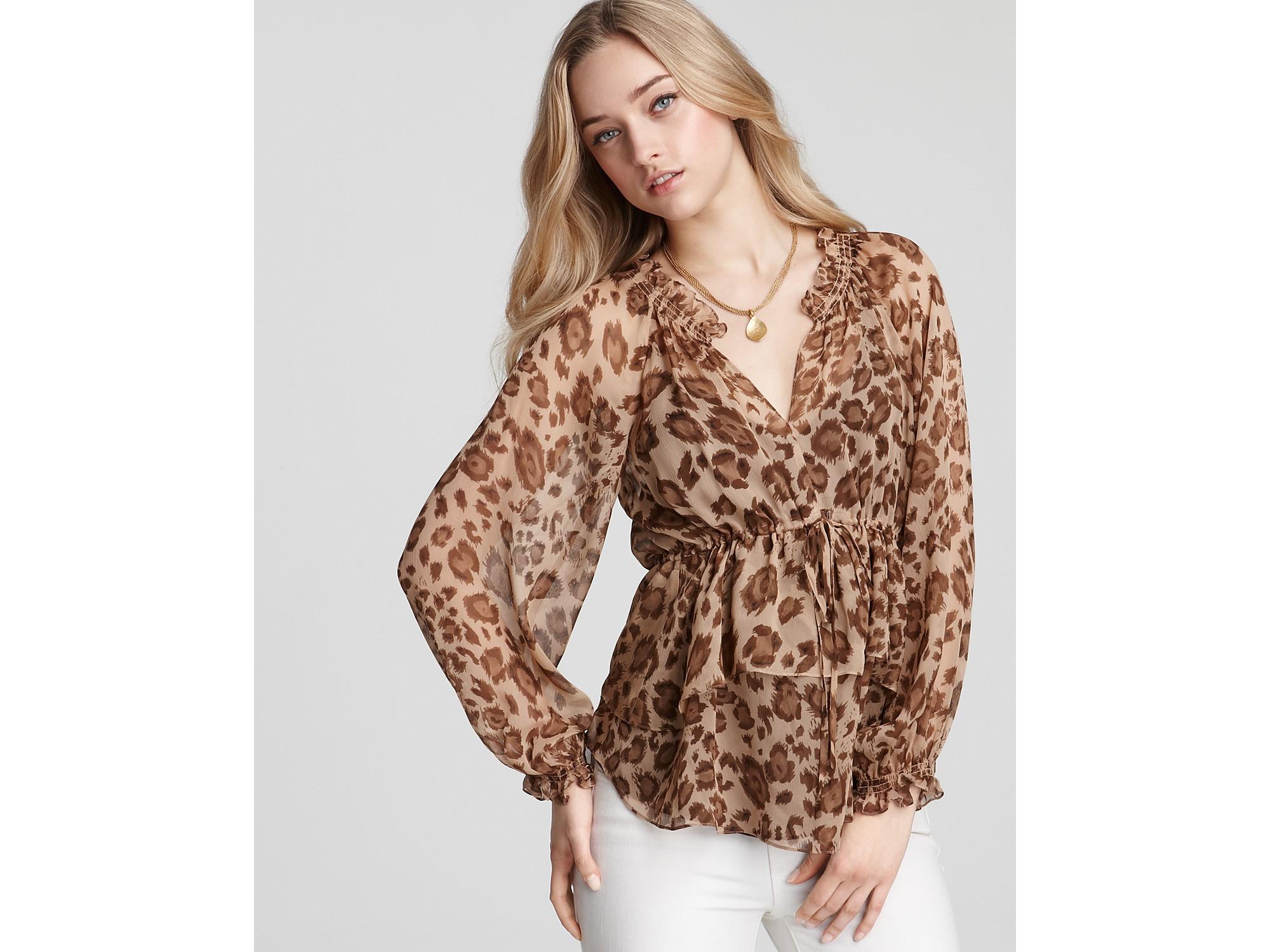 c1d8642d04ff4 Lyst - Rebecca Taylor Leopard-print Silk Tie-waist Top