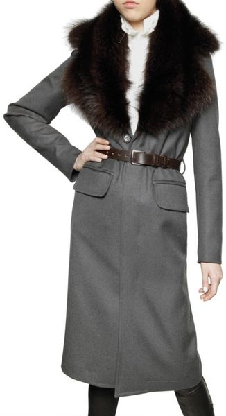Dsquared² Racoon Collar Wool Twill Coat in Gray (grey)