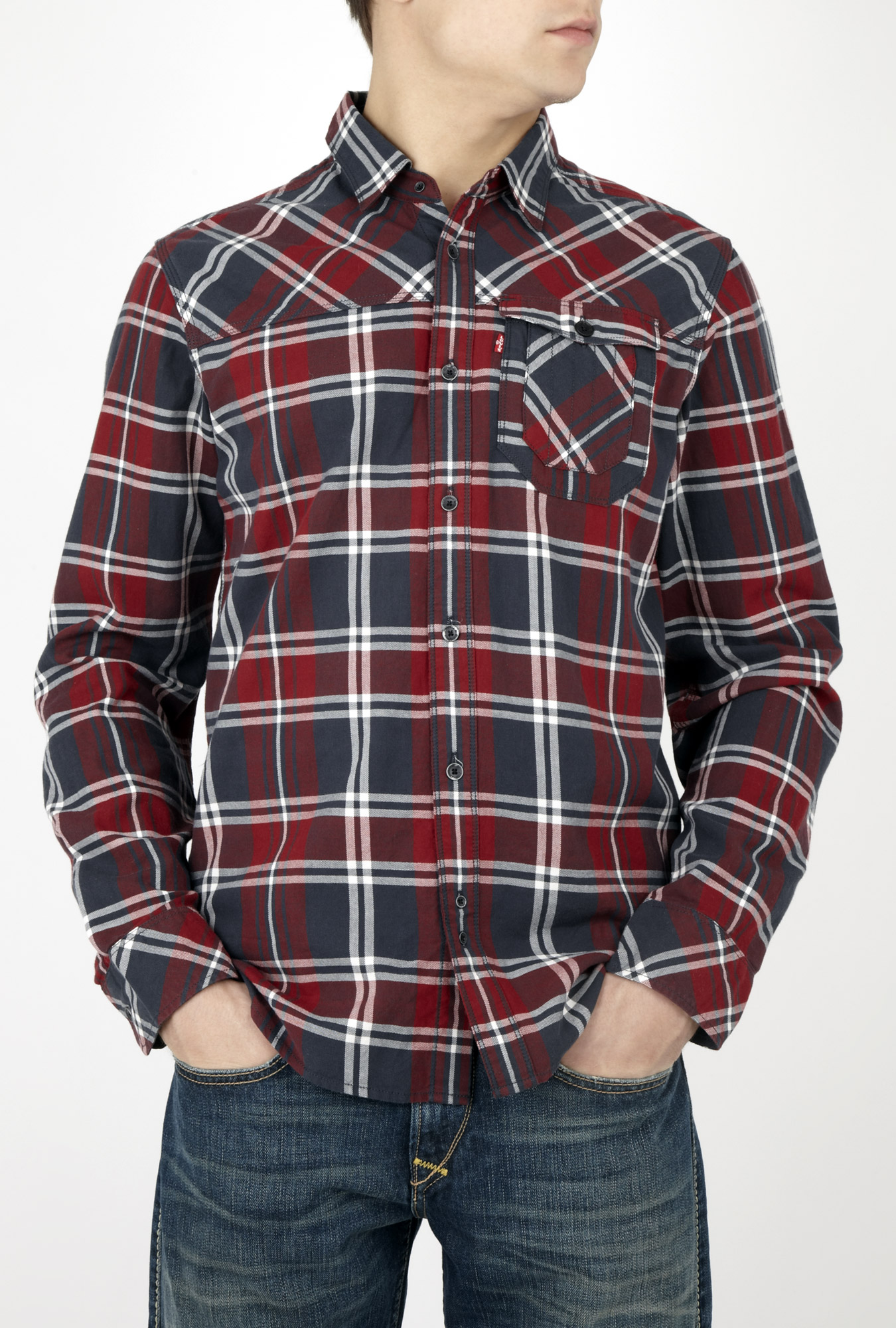 Levi 39 s black and red check work pocket shirt in black for for Mens black levi shirt