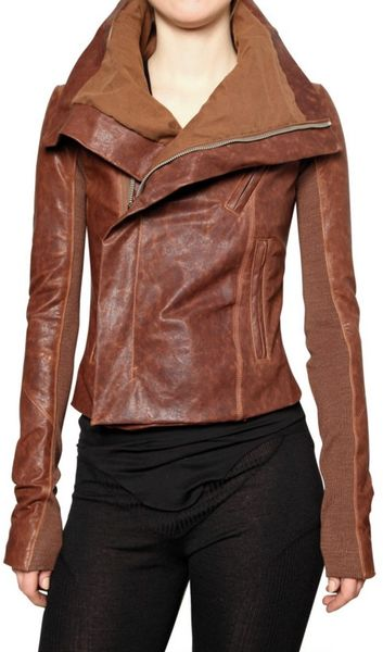 Rick Owens Washed Biker Leather Jacket in Brown - Lyst