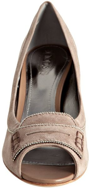 Tod S Taupe Suede Peep Toe Penny Loafer Pumps In Beige