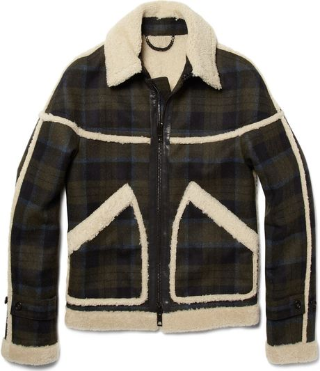 Burberry Prorsum Plaid And Shearling Jacket In Blue For