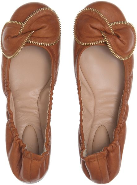 see by chlo zip bow ballet pumps in brown tan lyst. Black Bedroom Furniture Sets. Home Design Ideas
