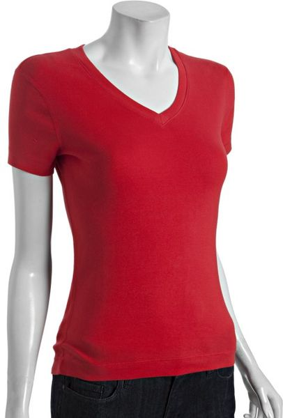 Three Dots Red Cotton Short Sleeve V Neck T Shirt In Red