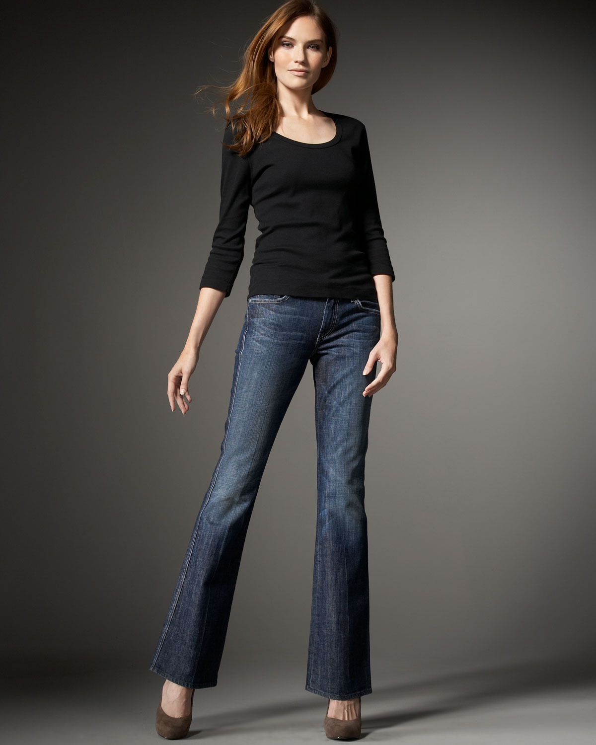 for all mankind a pocket bootcut jeans ny dark in blue lyst. Black Bedroom Furniture Sets. Home Design Ideas