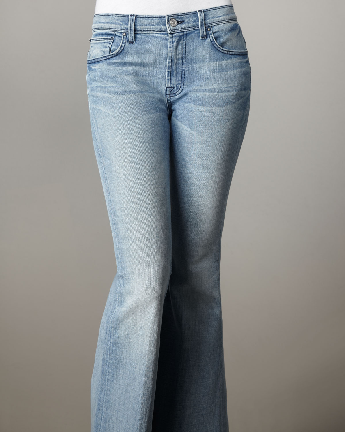7 for all mankind Bell-bottom Silver Strand Super Light Jeans in ...