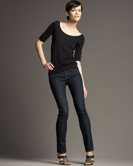 7 for all mankind roxanne skinny rinse jeans in blue. Black Bedroom Furniture Sets. Home Design Ideas