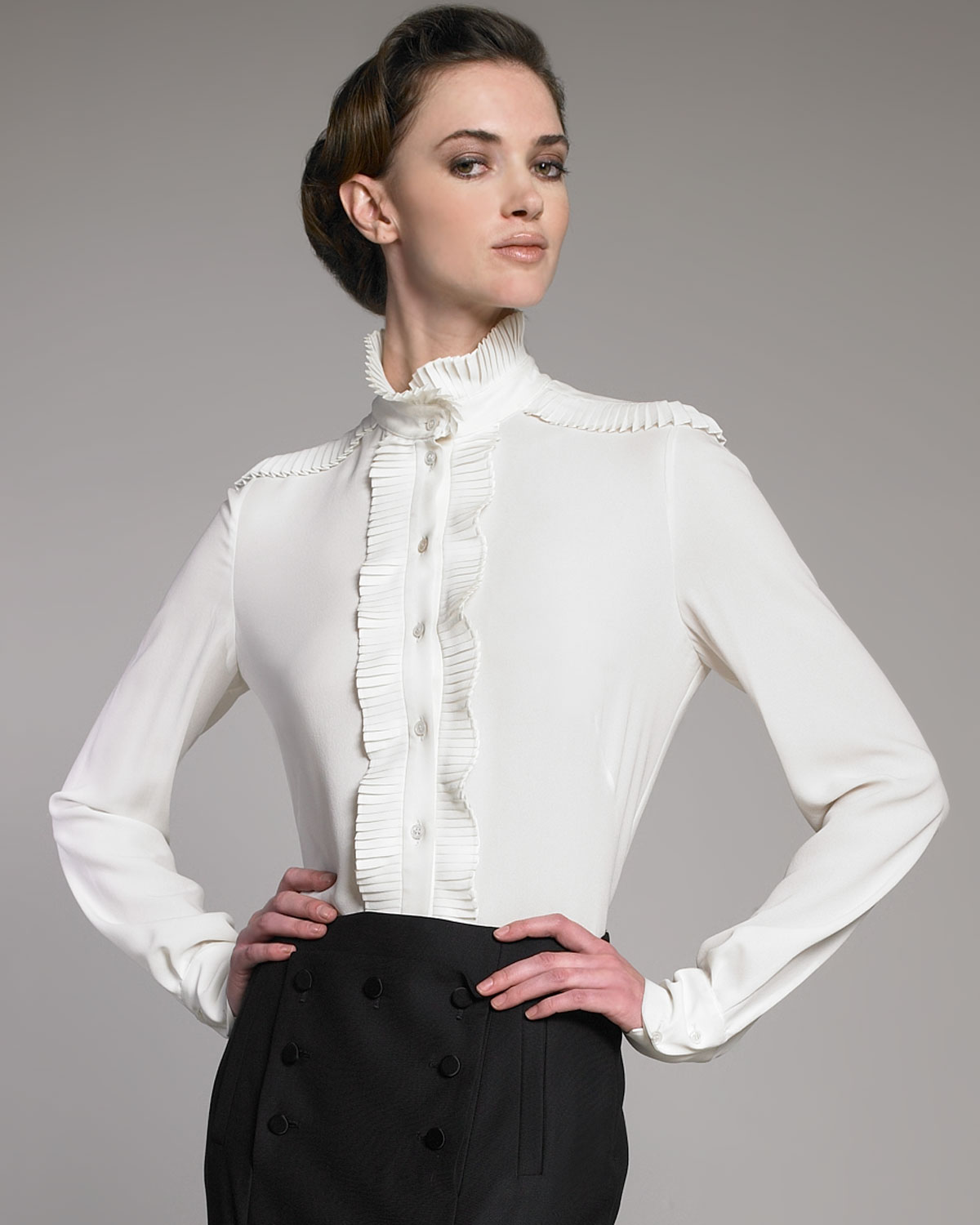 Stand Collar Blouse Designs Images : Lyst alexander mcqueen plisse stand collar blouse in white