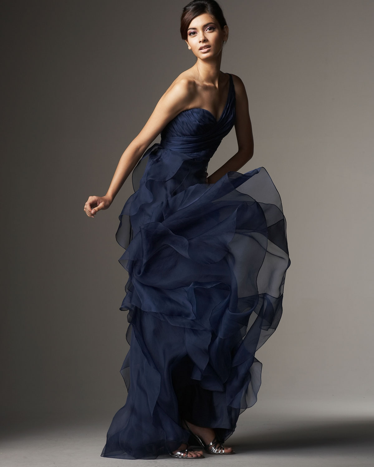 Badgley mischka one shoulder organza ruffle gown in blue lyst gallery previously sold at neiman marcus ombrellifo Choice Image