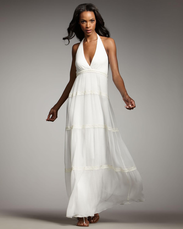 Bianca Nero Bohemian Crochet Maxi Dress in White ivory