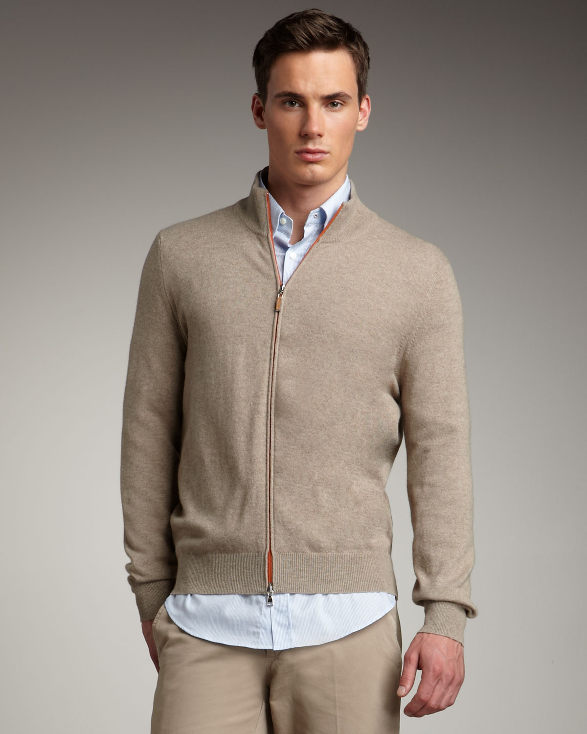 Brunello cucinelli Cashmere Zip Sweater, Oatmeal in Natural for ...