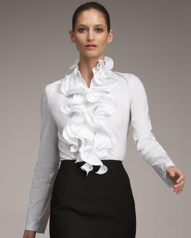 fcd87fe6e26 Lyst - ESCADA Ruffled Blouse in White