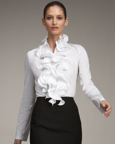 White Frilly Blouses 3