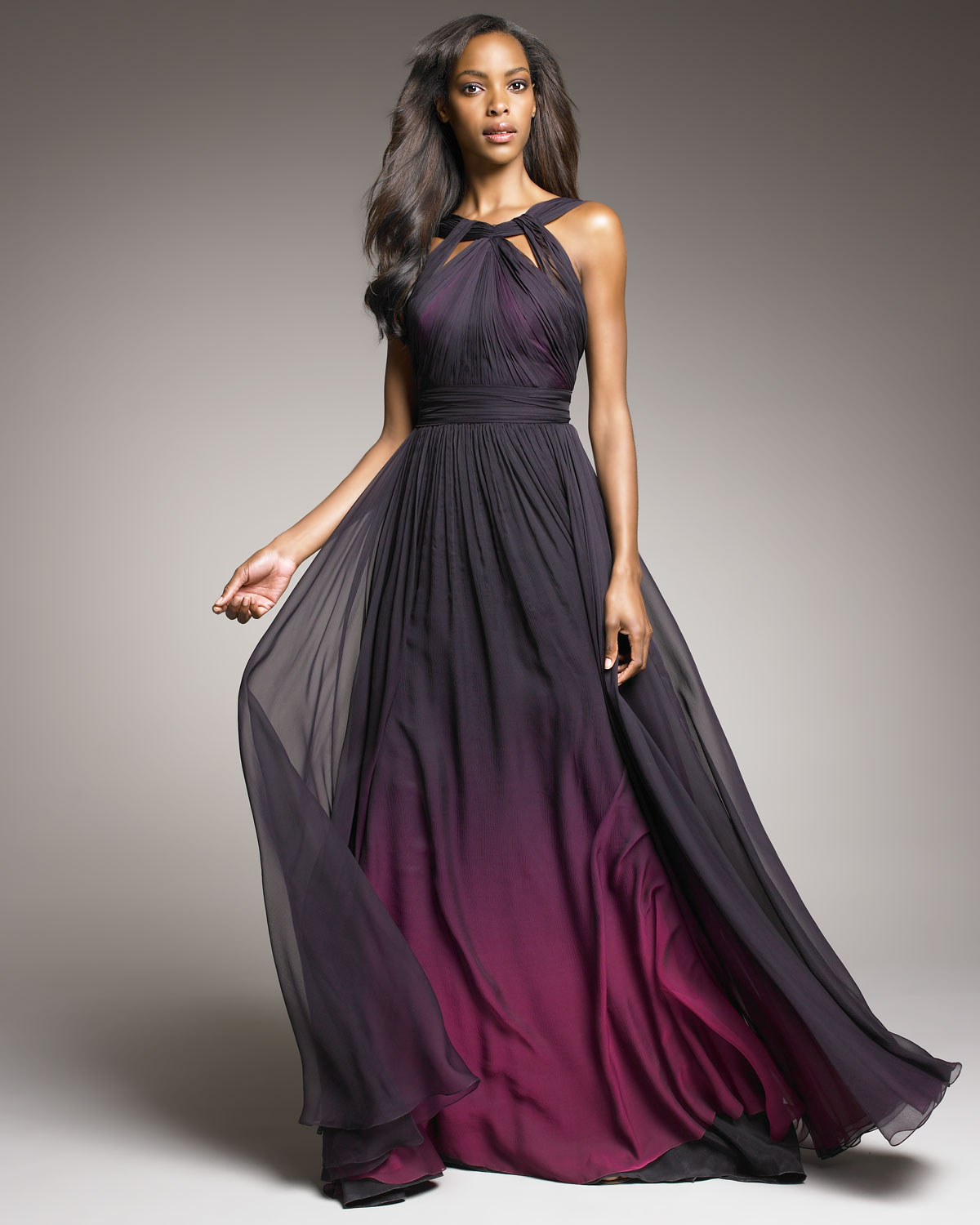Lyst - Monique Lhuillier Shirred Ombre Gown in Purple