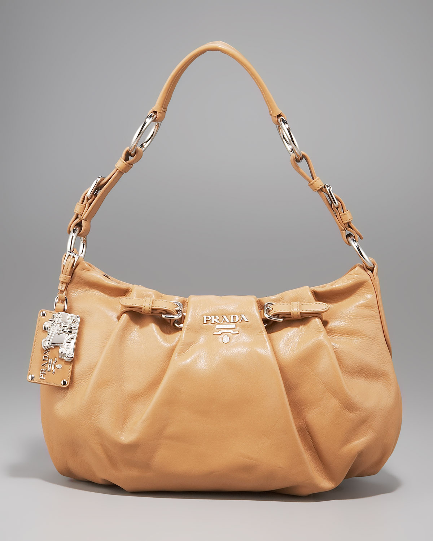 Prada Soft Calfskin Shoulder Bag in Brown (nero) | Lyst