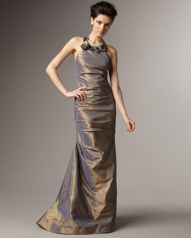 9bbe9b58ad83e Teri Jon Embellished Halter-neck Taffeta Gown in Metallic - Lyst