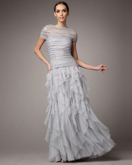 Tadashi Shoji Shirred Sequin Tulle Gown in Gray (silver)