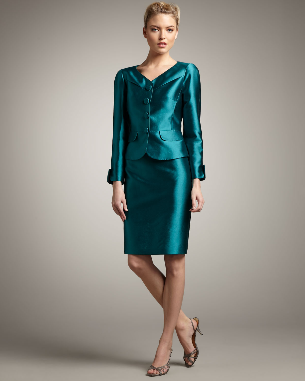 Tahari Seamed Wool-silk Suit in Blue | Lyst