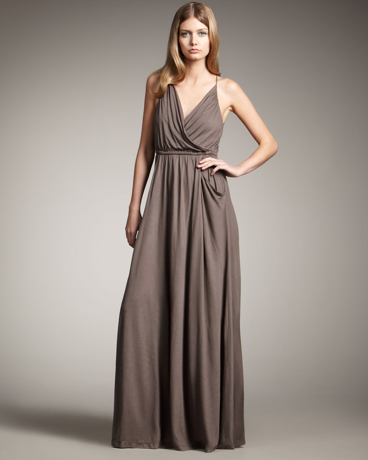 Theory Jersey Halter Maxi Dress in Brown | Lyst