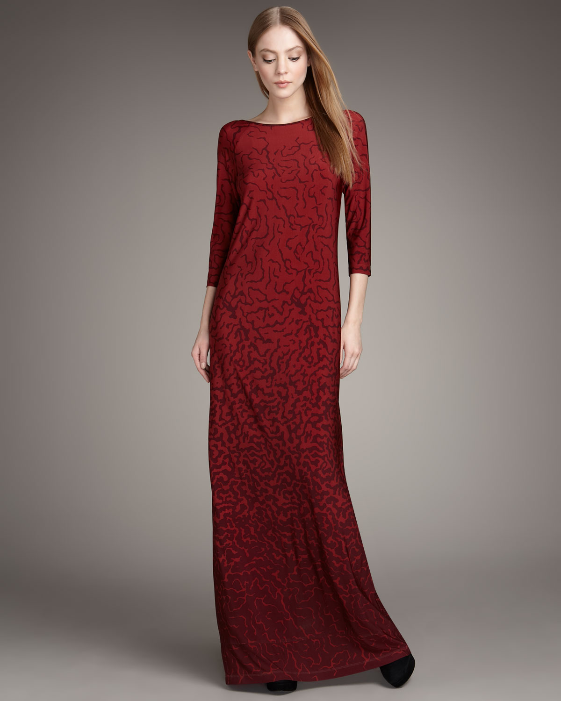 Tibi Three-quarter Sleeve Maxi Dress In Red (cherry)